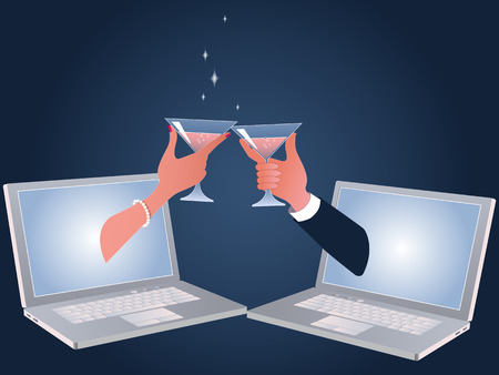 Male and female hands with champagne glasses coming out of computer screens, vecto illustration