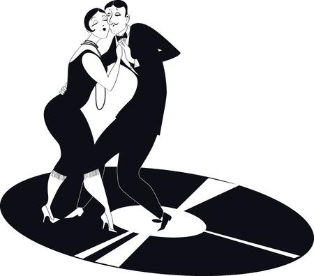 Couple dancing tango on a vinyl record  Illustration