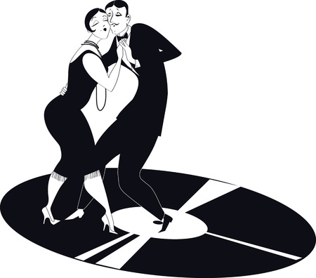 Couple dancing tango on a vinyl record  Illustration
