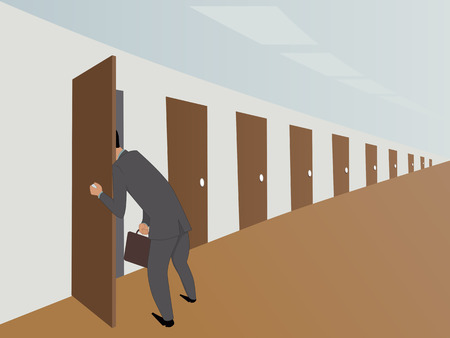hinder: Businessman in an endless hallway picking into one of many door
