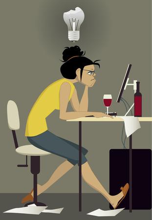 bloques: Escritor en el trabajo Vectores
