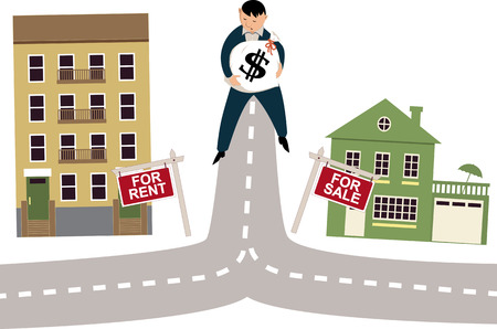 rent: To rent or buy concept Illustration