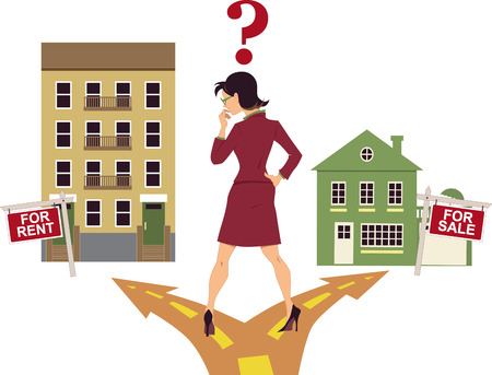 house prices: Woman think To rent or buy