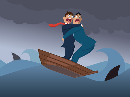 Two terrified businessmen in one boat crossing a stormy sea with sharks Illustration