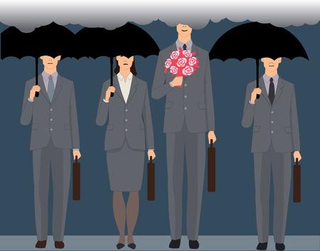 花束の立っていると笑みを浮かべて男、黒い傘の下で顔の見えないビジネス人々 の群衆