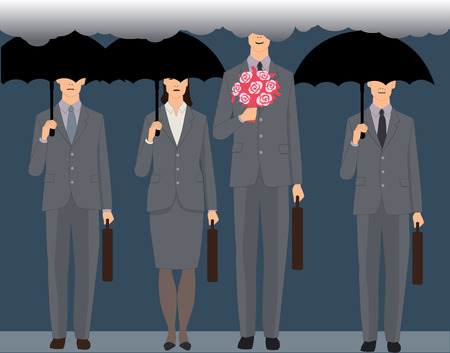 A smiling man with a bouquet standing an a crowd of faceless business people under black umbrellas Illusztráció