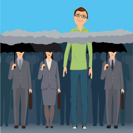 A very tall smiling man standing an a crowd of faceless business people under black umbrellas