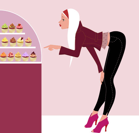 Young stylish girl choosing a cupcake in a store, illustration