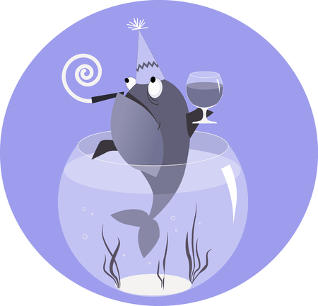 tank fish: Fish in a party hat and with a whistle and a glass of a liqueur