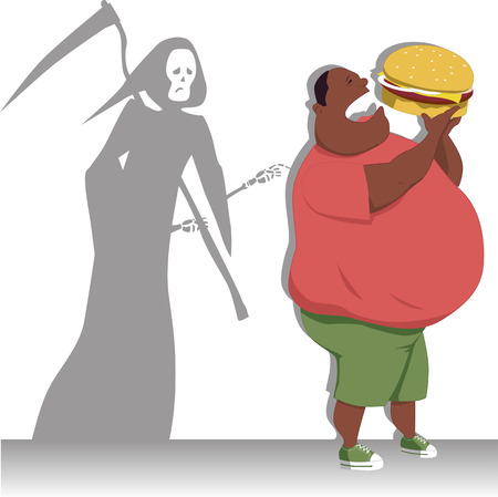 Danger of overeating Grim Reaper touches an obese man, eating big burger, vector illustration