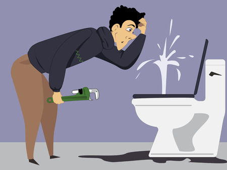 loo: Puzzled man with a wrench looking at a broken toilet, vector illustration Illustration
