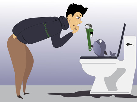 Pet fish with a wrench helps a man fixing a leaking toilet, vector cartoon