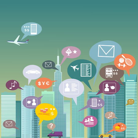 Urban landscape filled with social network icons, vector illustration, no transparencies Ilustração