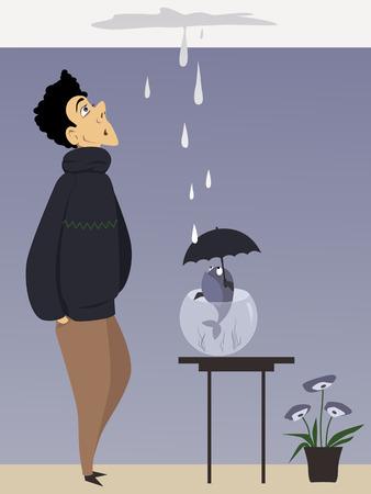 Hombre y un pez con paraguas mirando una fuga de techo, ilustración vectorial