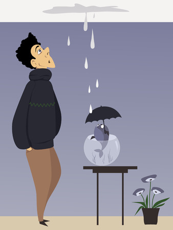 Man and a fish with umbrella looking at a ceiling leak, vector illustration Stock Illustratie