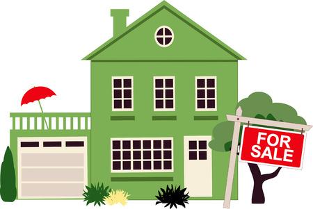 Een eengezinswoning met een bord te koop, vector illustration Stock Illustratie