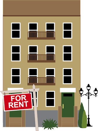 rent: Apartment building with a sign for rent, vector illustration