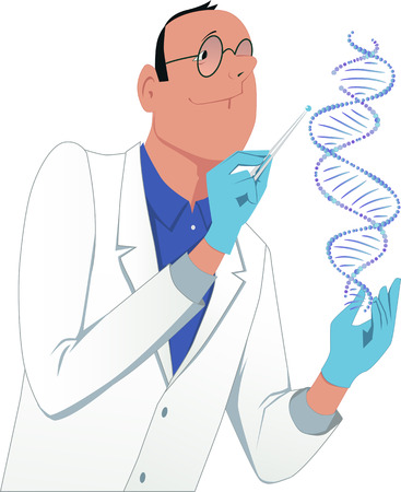 modifying: Scientist modifying a DNA molecule
