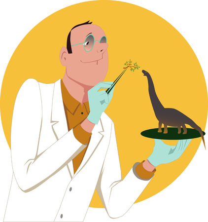 lab coat: Genetically modified organism  Scientist in a white lab coat feeding a tiny dinosaur, vector illustration