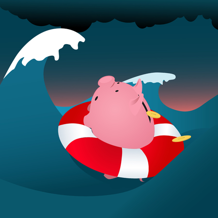 turmoil: Financial problems  Piggy bank drowning in the storm sea, loosing money, vector cartoon Illustration