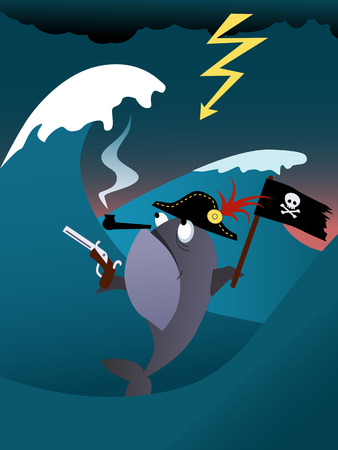 Fish pirate in a hurricane sea, vector cartoon