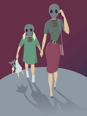 monoxide: Air pollution  Mother and daughter walking in gas mask, vector illustration