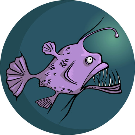 transparencies: Scary looking deep water ocean fish, vector illustration, no transparencies