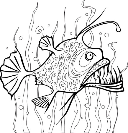 ocean cartoon: Anglerfish coloring page Illustration