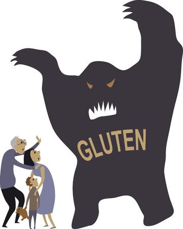intolerancia: Monster representando gluten puso una familia en el pánico, ilustración vectorial