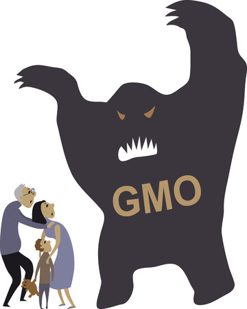 engineered: People scared of a monster, representing  genetically modified organisms, vector illustration