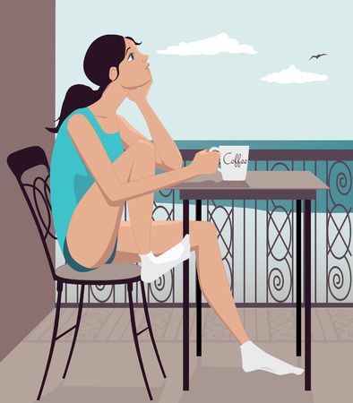 balcony view: Young woman having coffee on a balcony with a sea view, vector illustration Illustration