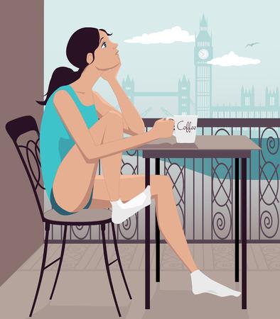 Young girl having breakfast on a hotel balcony in London, vector illustration Vector