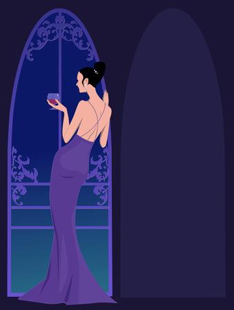 lazo negro: Plantilla de la invitación del partido del lazo negro con una mujer hermosa en un vestido de noche