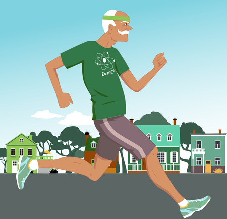 gerontology: Active senior man jogging down the suburbs street