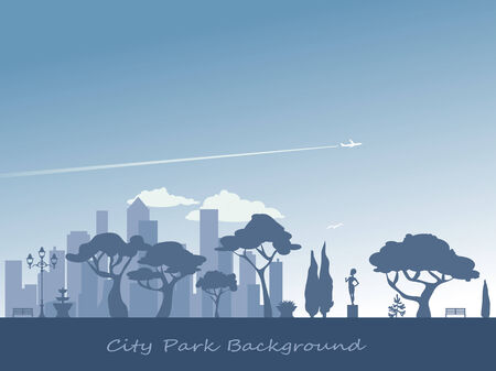 City park silhouette background at dusk