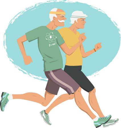 アクティブな退職高齢者のカップル ジョギング  イラスト・ベクター素材