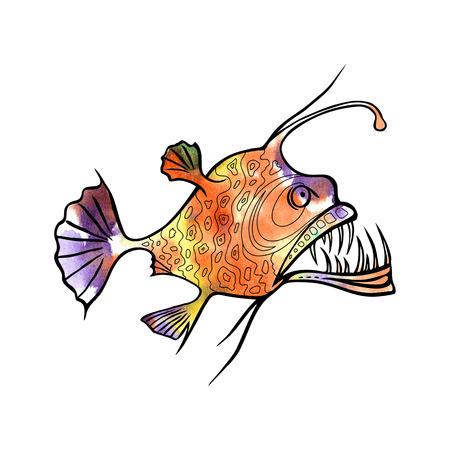 수채화 채우기 낚시꾼 물고기 디자인, 벡터 일러스트 레이 션 스톡 콘텐츠 - 29305188