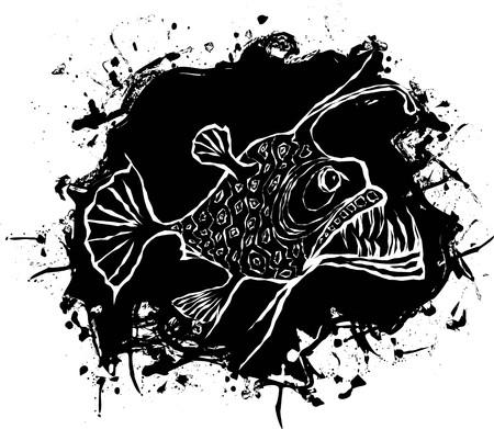anglers: Angler fish design on a black splash Illustration