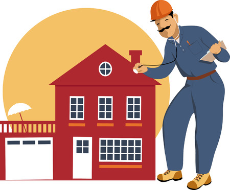 building inspector: Building inspector examining a house with a stethoscope, vector illustration