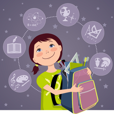 Cartoon school girl with a backpack, filled with school tools, school subjects icons on the background Vector