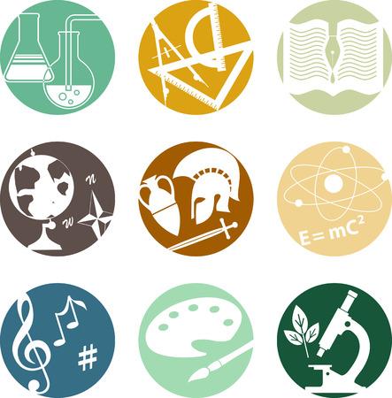 中学、高校の科目のシンボルと円形のアイコンのセット