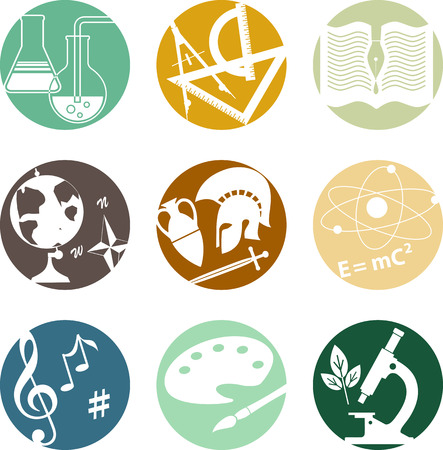 school class: Set of circular icons with symbols of middle and high school subjects