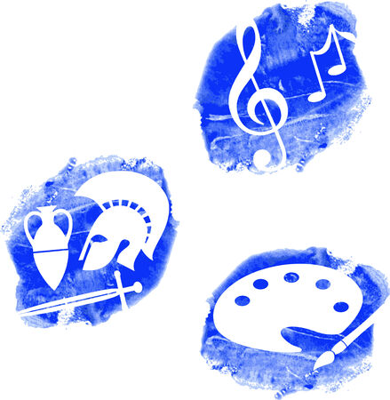 painterly: Symbols for music, visual arts and history on painterly background, vector icons Illustration
