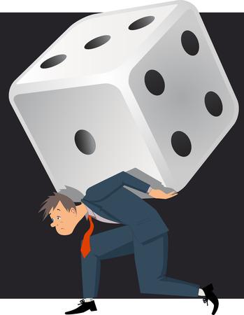 problem: Problem gambling  Depressed man carrying a huge dice, vector illustration on gambling addiction Illustration