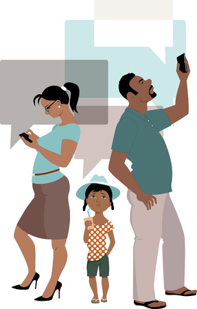 Parents concentrate on their smart-phones ignoring a kid, vector illustration
