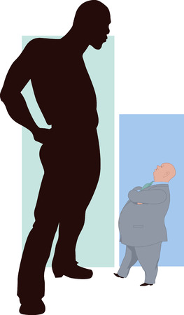 comically: Minority  Silhouette of a black man towering over a comically small Caucasian man, showing a relativity of the term minority Illustration