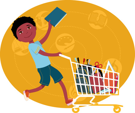 Back to school shopping  Elementary school student riding a shopping cart, filled with school supplies, vector cartoon