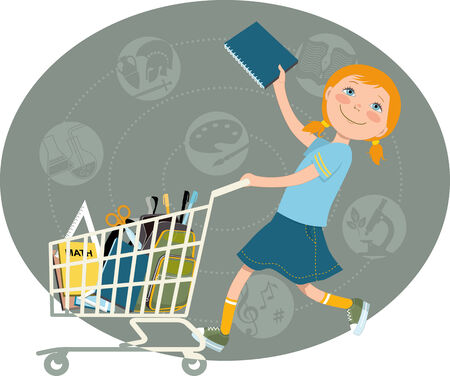 school: Back to school shopping   Elementary school student riding a shopping cart, filled with school supplies, vector cartoon