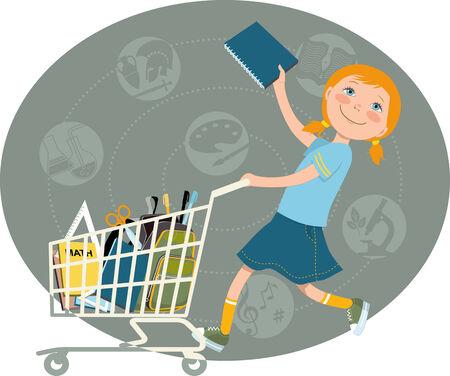 cartoon school girl: Back to school shopping   Elementary school student riding a shopping cart, filled with school supplies, vector cartoon