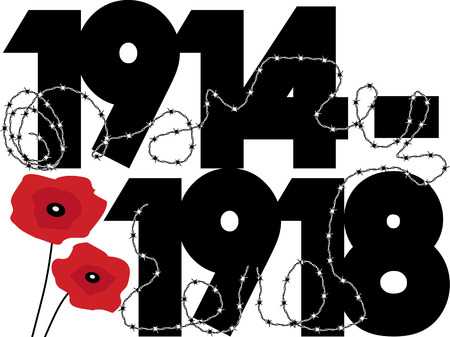 war and military: World War One dates in symbolic vector design with poppies and barbed wire